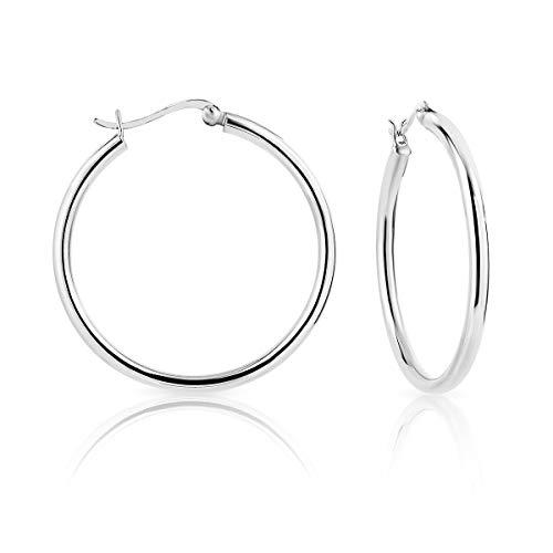 DTP Silver - Argento 925 - Orecchini da donna a Cerchio/Creoli - Spessore 3 mm - Diametro 40 mm