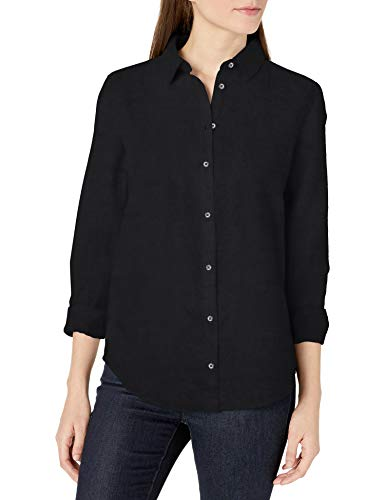 Amazon Essentials Relaxed-fit Long-Sleeve Linen Shirt Camisa, Negro Efecto Lavado, L