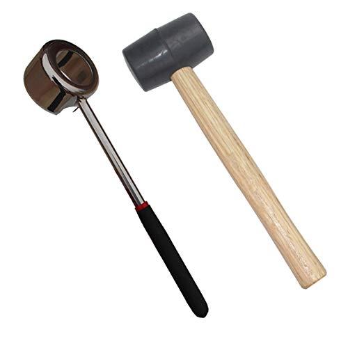 Xigeapg Praktischer Leichter Kokosnuss oeffner Werkzeug Satz Edelstahl oeffner Mit Holz Schlaegel