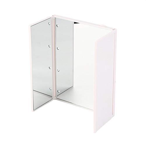 CNmuca Luzes LED superbrilhantes, espelho triplo dobrável com abertura magnética, espelhos de maquiagem, transporte direto atacado branco