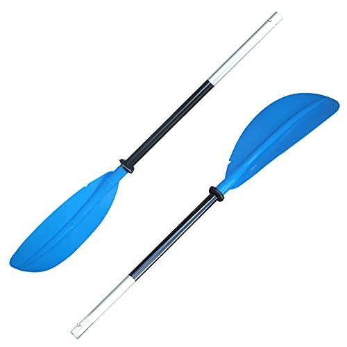 カヤック用ダブルパドル2分割式 ダブルブレードパドル218cm スペアパドル2ピース構造 (青)