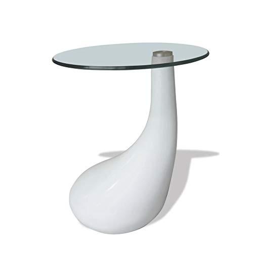 vidaXL Beistelltisch Hochglanz Weiß Glasplatte Couchtisch Glastisch Sofatisch