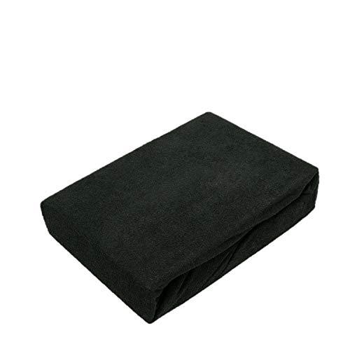 EXKLUSIV HEIMTEXTIL Sábana bajera ajustable de rizo, 70 x 140 cm, color negro