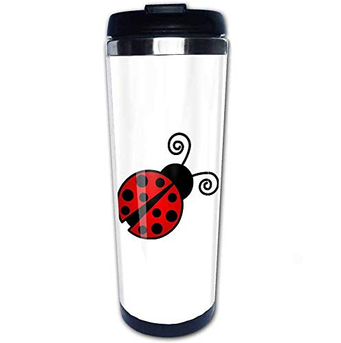 Red Ladybug 2 Travel Coffee Mug with Flip Lid Stainless Steel Vacuum Insulated Tumbler Cup 14 OZ, Best Gift