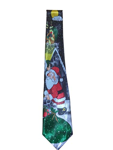 The Electric Mammoth Herren Krawatte mit Weihnachtsmotiven – verschiedene Designs - Schwarz - Groß