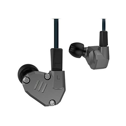 KZ ZS6 HiFi Quad Driver Earphones 2DD+2BA with Extra Bass, Detachable Cable,With Microphone, Gray