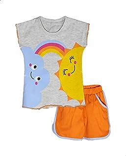 Jockey Printed Short Sleeves Round Neck T-shirt with Plain Shorts Pajama Set for Girls 18-24 Months