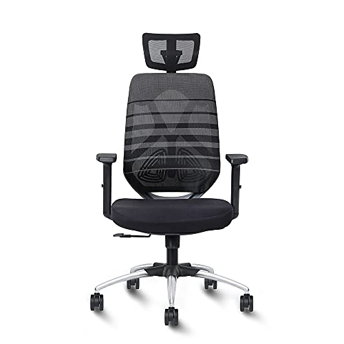 Exclusiff ® Zen High Back Black Mesh Executive Ergonomic Office Chair with 2 Dimensional Adjustable Arm Rest and Headrest(Nylon, Black)