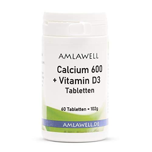 Pastillas de calcio Amlawell 600 + vitamina D3, 60 pastillas de calcio veganas con vitamina D3 (dosis diaria de 600 mg de calcio y 5 μg de vitamina D)