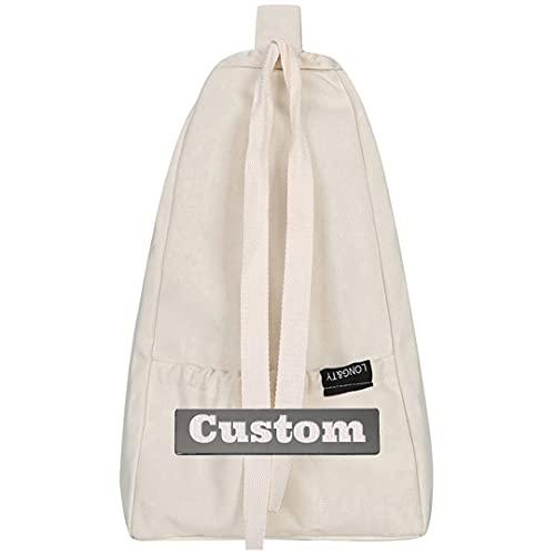 FireH Nombre Personalizado Mochila con Cordones Bolsa de Cadena Impermeable Mochila de Gimnasio para Mujeres (Color : White, Size : One Size)