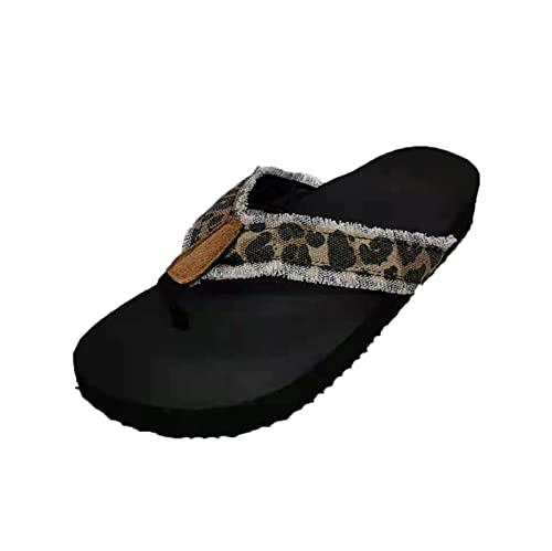 YHIIen Flip Flops Damen Leder Zehentrenner Sommer Sandalen mit Keilabsatz Freizeit Beach Frauen Bequeme Yoga Mat Tanga Sandalen für Plantar Fasciitis