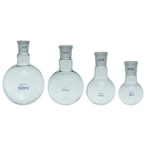 Migming 5 Ml De Ebullición Matraz De Fondo Redondo De 10# Estándar Terreno Boca Borosilicato 3.3 De Cristal A Prueba De Calor Personalizable Laboratorio Destilación Flasks- Envase De 1