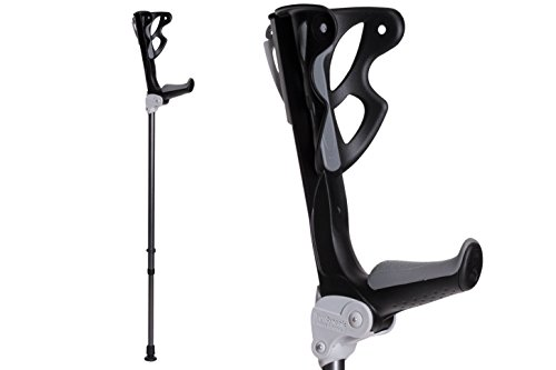 Ergodynamic Forearm Crutches by FDI (Size: 4'7-6'8) 1 Pair/2 Crutches/Black/Lightest Crutch with an Integrated Shock Absorber (S (up to 154lbs) Spring Rate)
