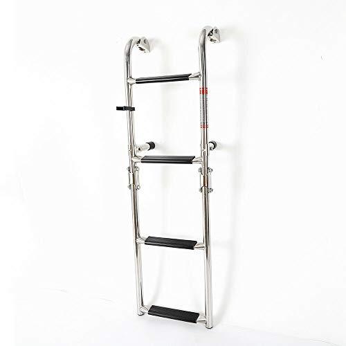 MINUS ONE Foldable Ladder, Marine Boat Inboard Swim Platform Yacht Ladder Stainless Steel 4 Step, Telescoping