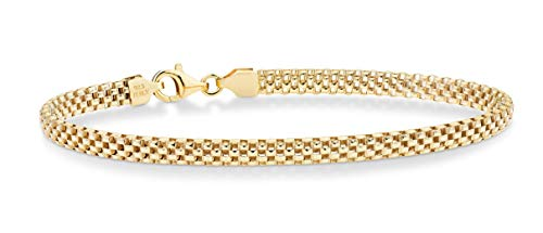 Miabella 18K Gold Over Sterling Silver Italian 4mm Mesh Link Chain Bracelet for Women Teen Girls 6.5, 7, 7.5, 8 Inch 925 Italy (6.5 Inches)
