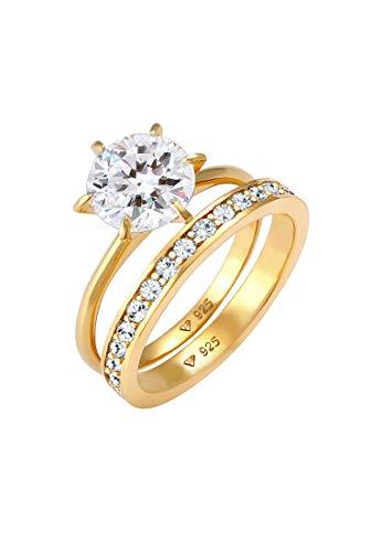 Elli Anillos Juego de anillo para damas Glamoroso con cristales de Swarovski en plata esterlina 925