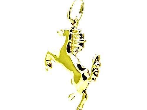 Gelb Gold Anhänger 18KT Pferd Glänzend – Anhänger Cavallino Rampante Damen Herren Kinder
