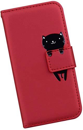 Ysimee Handyhülle kompatibel mit Huawei Honor 9 Lite, Cartoon-Muster Case Schutzhülle Klappbar Stoßfest Kratzfest Hülle Flip Handy Tache mit Kartenslots und Standfunktion,Rot Katze