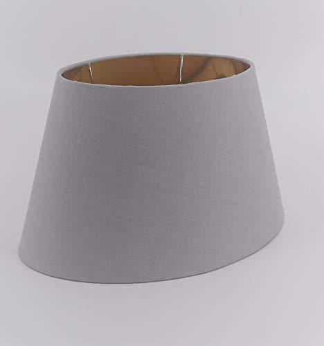 Oval-Lampenschirm-konische-Form-Leinen-Optik (Grau 20 * 30 * 18cm)