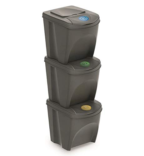 Mülleimer Abfalleimer Mülltrennsystem 75L - 3x25L Behälter Sorti Box Müllsortierer 3 Farben von rg-vertrieb (Grau)
