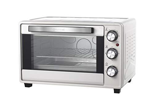 Grunkel - Horno eléctrico multifunción de sobremesa de 23 litros en color plata con 1600W de potencia. Ideal para pizzas y pan. Modelo HR-23 Silver (Plata)