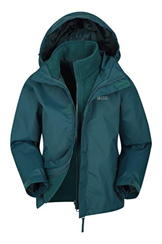 Mountain Warehouse Fell Kids 3 in 1 Jacket - Packaway Hood, Triclimate Coat Petrol Blue 9-10 Years