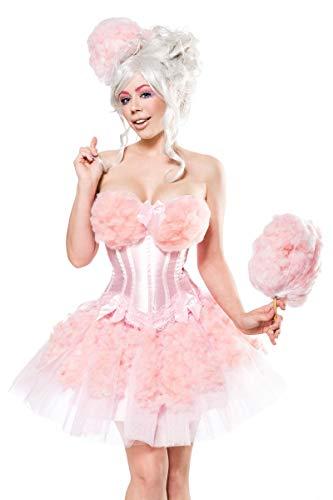 Damen Candy Girl Fantasy Kostüm Zuckerwatten Verkleidung aus Corsage, Hut, Watte und Tutu Rock in schwarz rosa Zuckerwattestab glänzend L