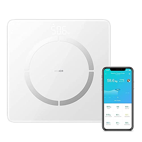 HONOR Scale 2 Waage, Waagen Bluetooth Smart Waage mit App Smart Waage für Hochpräzise Skala Waage mit 14 Messindizes, Weiß