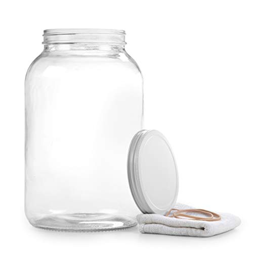Gallon Glass Jar with Airtight Leakproof Metal Lid- Wide Mouth Empty - Dishwasher Safe, Food Safe - Use for Kombucha Tea, Fermenting, Food Storage, Canning, 1 Jar