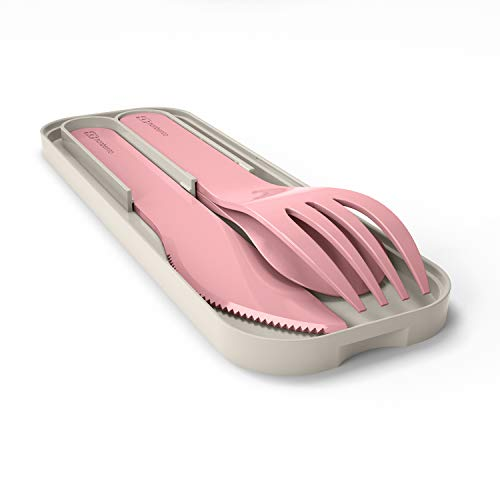 monbento - MB Pocket - Set couverts Lunch box - 3 Pièces fourchette couteau cuillère - Couverts pour bento idéal pour travail, voyage, pique nique (Plastique biodégradable, Blush)
