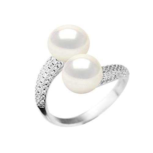 Pearls & Colors – Anello da gioielleria Prestige – Vera perla coltivata d'acqua dolce 9 – 10 mm, bianco naturale argento massiccio 925 millesimi, misura regolabile, gioiello da donna