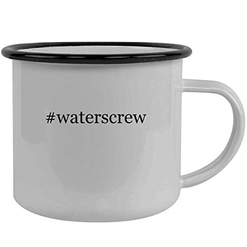 #waterscrew - Stainless Steel Hashtag 12oz Camping Mug, Black