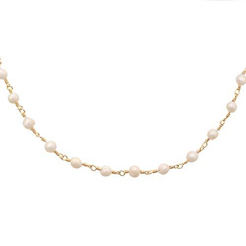 Yehwang EST. Joyas de Moda, diseño Premium 2008 - Acero Inoxidable Chapado en Oro - Collar de Estilo con Cuentas de Marfil - Gargantilla - Sin níquel - Cadena de Cuentas