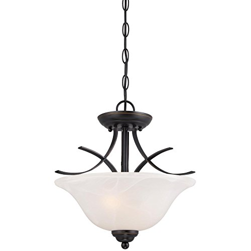 Westinghouse Lighting 6340300 Pacific Falls Two-Light Indoor Convertible Pendant/Semi-Flush Ceiling Fixture, Amber Bronze Finish with White Alabaster Glass