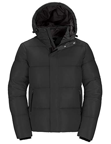 Wantdo Men's Parka Jacket Thicken Padded Winter Coat with Removable Hood Black S
