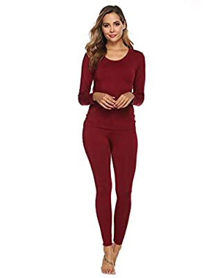 YAWOVE Thermal Underwear Women Ultra-Soft Long Johns Set Base Layer Skiing Winter Warm Top & Bottom Wine Red from
