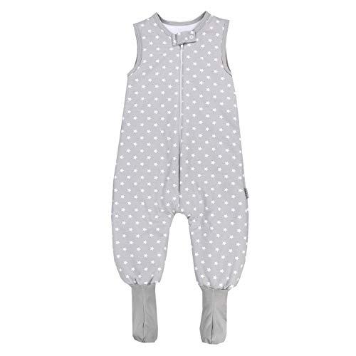 TupTam Baby Winter Schlafsack mit Beinen und Füßen, Farbe: Grau/Sterne Weiß, Größe: 92-98
