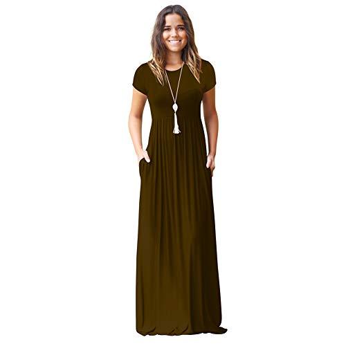 GAYBJ Freizeitkleid für Damen, lässiges Sommerkleid mit kurzen Ärmeln,Apricot,L