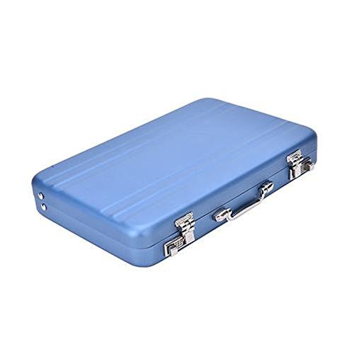 Mini Briefcase Business Card Case Id Holders Password Aluminium Credit Card Holder (blue)