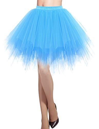 DRESSTELLS Blaues tütü Damen Tüllrock 50er Rockabilly Petticoat Unterrock Kurz Ballett Tanzkleid Ballkleid Abendkleid Gelegenheit Zubehör Blue L