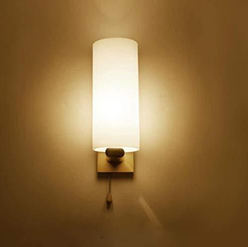 Lampe Murale Lampe en Bois Massif en Verre Applique Simple Tête Interrupteur à Tirette Chambre Chevet Salon Couloir Aisle Décoration E27 220 V (sans Source de lumière)