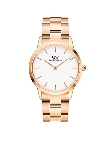 Daniel Wellington Iconic Link, Reloj Oro Rosado, 36mm, Acero Inoxidable, para Mujer y Hombre