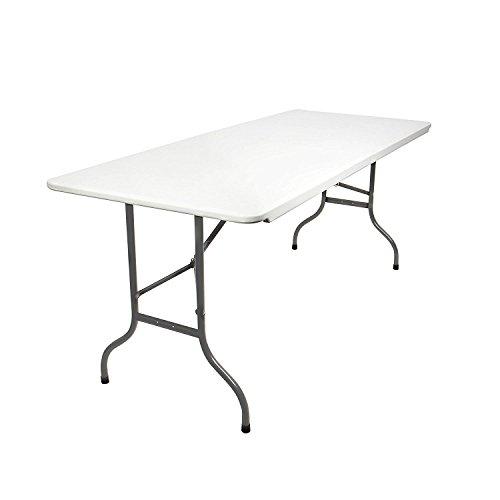 MaxxGarden Gartentisch- Buffettisch- klappbar -183x76 cm- mit Tragegriff Kunststoff- für 6 Personen -Klapptisch- Campingtisch- Weiß