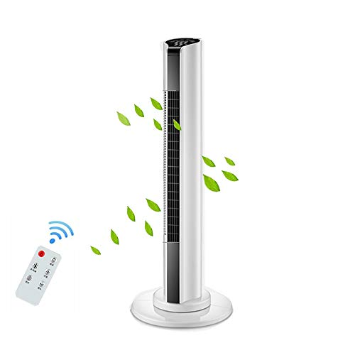 XYL Ventilador De Torre Oscilante, Ventilador De Torre Silencioso con Mando A Distancia,3 Modos Ventilación,15H Temporizador,Blanco