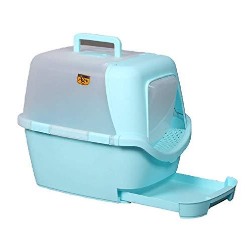 Caja de Arena para Gato Cerrado Cajón Encantador Aseo Gatitos Antiolor Ecológico Abertura Frontal Fácil de Limpiar WC Inodoro,Green