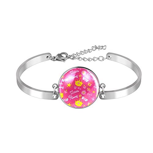 Pulsera ajustable única princesa rosa para mujer acero inoxidable