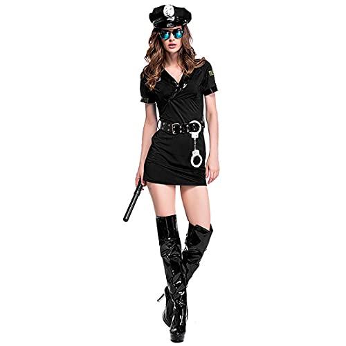 XIAOKEKE Disfraz De Polica Sexy para Mujer, Vestido De Polica, Uniforme De Cosplay, Traje De Polica Travieso, Disfraz para Mujer, Disfraz para Fiesta De Halloween,XL