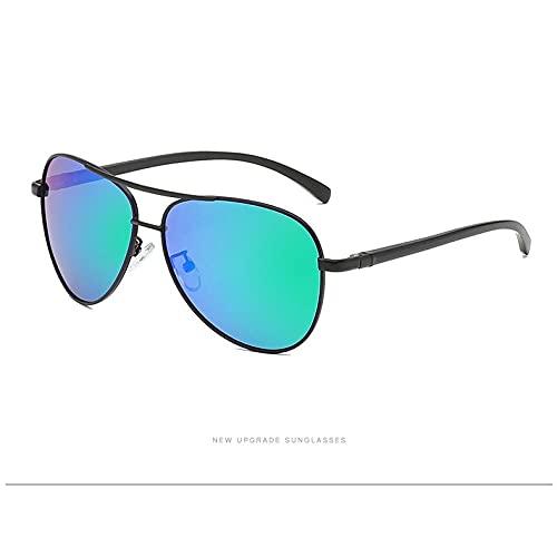 WQZYY&ASDCD Gafas de Sol Gafas De Sol Polarizadas para Hombre Marco De Aviación De Magnesio Y Aluminio Gafas De Sol Retro Ray Gafas para Mujer Uv400-Black_Green_Mirror_Package_A