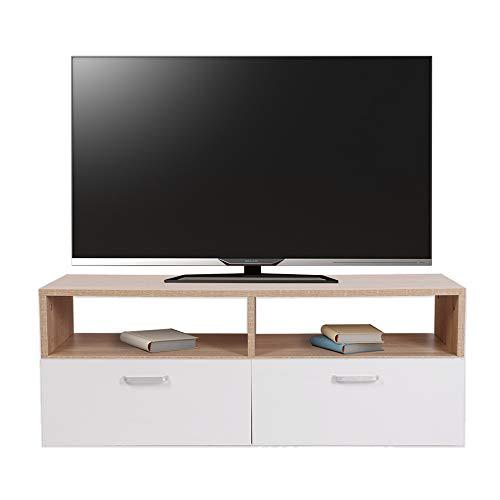 Melko Fernsehtisch Fernsehschrank Sideboard TV-Board, Braun/Weiß, 95 x 35 cm