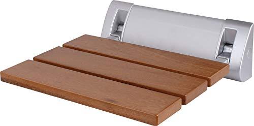 Design Duschsitz klappbar - Balata Highline Deluxe - zur Wandmontage, hohe Belastung bis 150 kg, Klappsitz, Duschklappsitz mit Holz-Sitzfläche, platzsparend statt Duschhocker